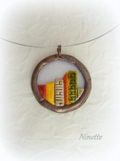 transparent,cuivre,pâte polymère,pendentif,bo