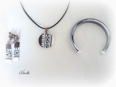 parure, pendentif, BO, bracelet, marron, blanc, ethnique, clay-gun, extrudé
