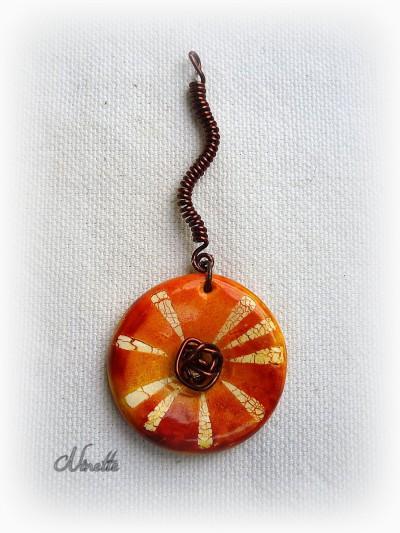 pendentif, orange wire, pâte polymère, batik