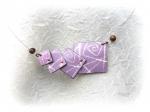 Collier, batik, violet, carré