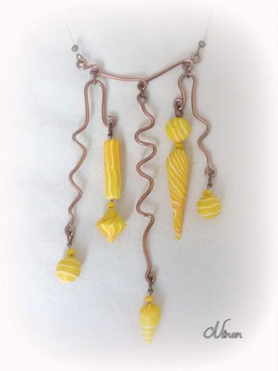 challenge,jaune,pâte polymère,fimo,wire,pâte transparente