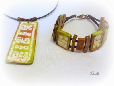 collier, bracelet oriental, vert, batik