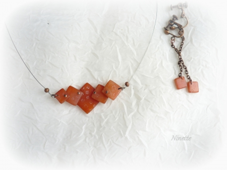 pâte polymère, Fimo, collier, transparente, orange