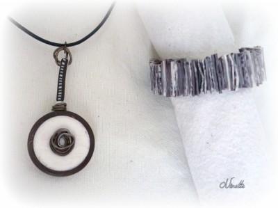 pendentif, bracelet, lamelles, blanc, marron, wire, cuillère, ethnique