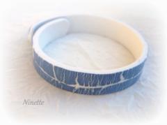 pâte polymère, Fimo, craquelé, raku, bleu, bracelet