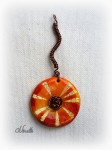 batik, orange, pendentif, wire