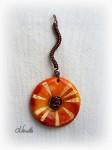 batik, orange, pendentif, wire