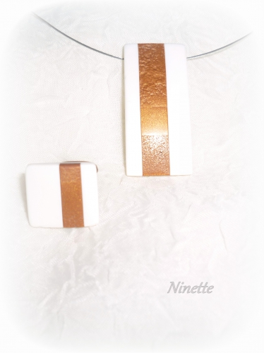Pâte polymère, bague, pendentif, or, blanc