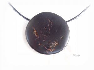 Pâte polymère, Fimo, pendentif, craquelé, noir, or