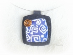 Pâte polymère, Fimo, pendentif, bleu, batik, wire