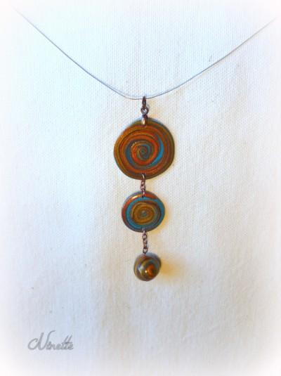 Pendentif, spirale, pâte polymère, clay-gun, turquoise