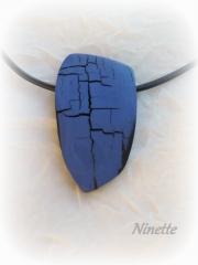 pâte polymère, Fimo, craquelé, raku, bleu, bracelet, pendentif