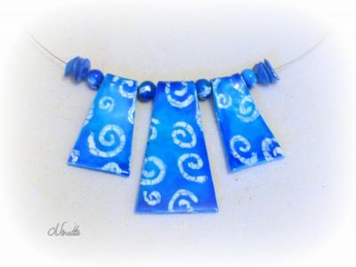 collier, batik, spirale, turquoise