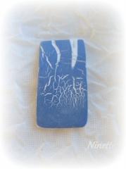 pâte polymère, Fimo, craquelé, raku, bleu, pendentif