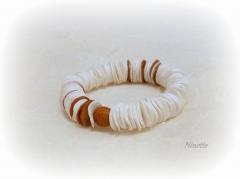 Pâte polymère, Fimo, bracelet, blanc, cuivre