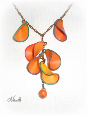 Collier, chaîne, pétale, orange