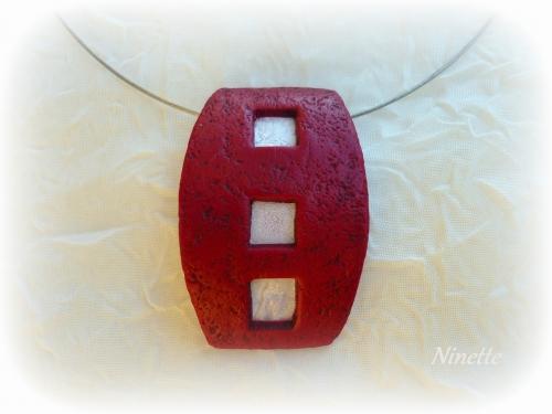 pâte polymère,pendentif,transparente,rouge