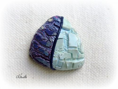 pâte polymère, craquelé, heatgun, pendentif, bleu