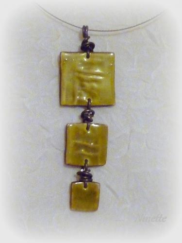 Pâte polymère, pendentif, vert, céramique, 3 carrés, wire