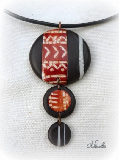 pendentif, ivoire, ébène, batik, brun, pâte polymère, ethnique