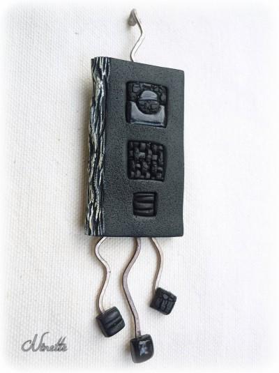 pendentif, noir, rectangle, wire, lisse, mat