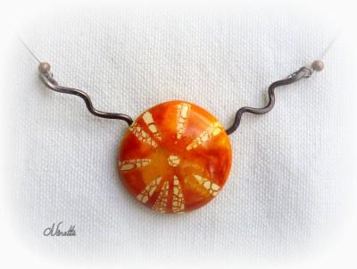 Pendentif, orange, wire, batik, pâte polymère