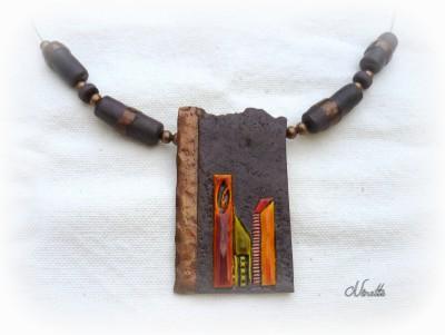 collier, pierre, émail, cuivre,pâte polymère