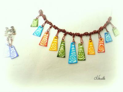 pâte polymère, collier, batik, multicolore, wire