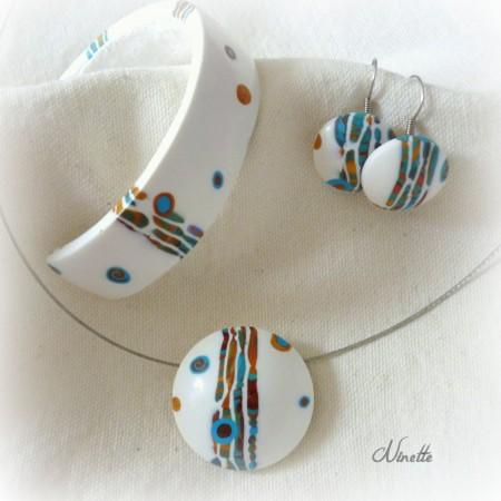 parure, pendentif, BO, bracelet, stroppel, pâte polymère, cane, canne, turquoise, or, cuivre