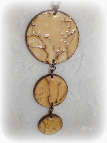 Pâte polymère, pendentif, beige, céramique, branches, 3 ronds