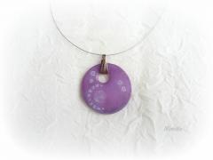 pendentif, pâte polymère, Fimo, violet, transparente