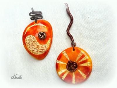 pendentif, batik, pâte polymère, wire, orange